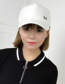 Fashion White Letter M Pattern Decorated Pure Color Cap