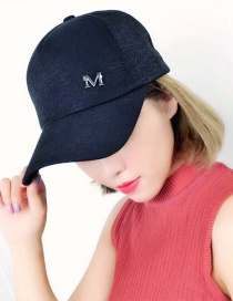 Fashion Black Letter M Pattern Decorated Pure Color Cap