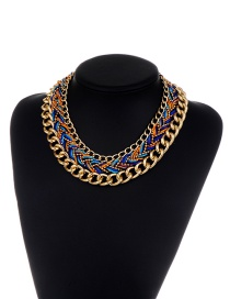 Fashion Blue Chains Decorated Hand-woven Design Necklace