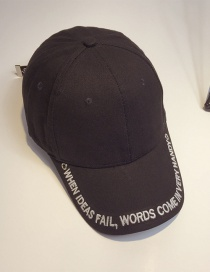 Fashion Black Embroidery Letter Decorated Baseball Cap