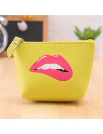 Lovely Yellow Lip Pattern Decorated Simple Wallet