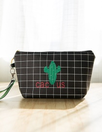 Lovely Black Cactus Pattern Decorated Grid Design Wallet
