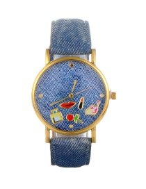 Fashion Blue Lip&flower Pattern Decorated Round Dail Watch