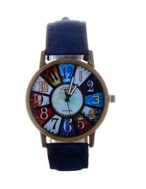Fashion Dark Blue Color Matching Decorated Round Dail Watch