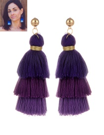 Fashion Purple Tassel Decorated Color Matching Earrings