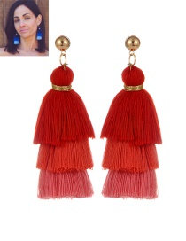 Fashion Red Tassel Decorated Color Matching Earrings