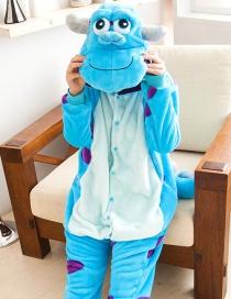 Fashion Blue Cartoon Animal Decorated Simple Nightgown