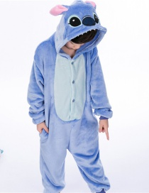 Fashion Blue Stitch Shape Decorated Simple Chid Nightgown