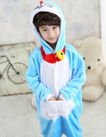Fashion Blue Cat Shape Decorated Chid Nightgown