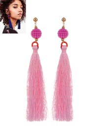 Fashion Pink Tassel Pendant Decorated Pure Color Earrings