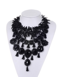 Fashion Black Tassel Decorated Pure Color Jewelry Sets