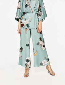 Fashion Light Green Flower Pattern Decorated Simple Loose Pant