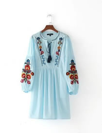 Fashion Light Blue Embroidery Flower Decorated Simple Dress(2pcs)