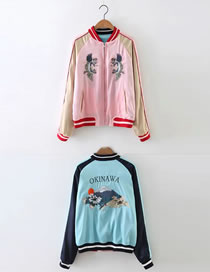 Fashion Pink+blue Cranes&tiger Pattern Decorated Jacket(wearing Both Sides)