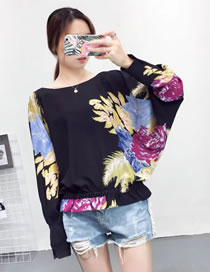Fashion Black Embroidery Flower Decorated Long Sleeves Shirt
