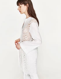 Fashion White Pure Color Decorated Hollow Out Long Shirt