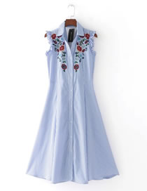 Fashion Blue Embroidery Flower Decorated Sleeveless Long Dress