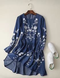 Fashion Navy Embroidery Flower Decorated Long Sleeves Dress