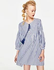 Fashion Blue Stripe Pattern Decorated Simple Dress