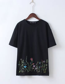 Fashion Black Embroidery Flower Decorated Short Sleeves Shirt