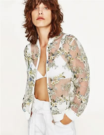 Fashion Green Flower Pattern Decorated Simple Sunscreen Coat