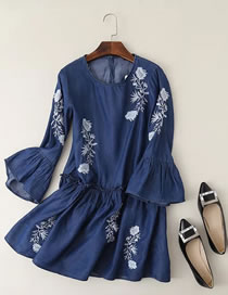 Fashion Navy Embroidery Flower Decorated Flare Sleeves Dress