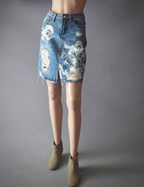 Fashion Blue Flower Pattern Decorated High-waist Skirt