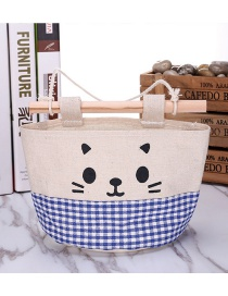 Fashion Blue+white Cat Pattern Decorated Pure Color Storage Bags