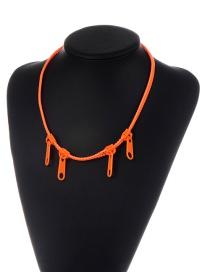 Fashion Orange Zipper Shape Decorated Pure Color Necklace