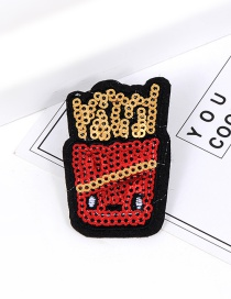 Trendy Red Sequins Decorated Chips Shape Simple Brooch