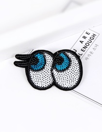 Trendy Multi-color Sequins Decorated Eyes Shape Simple Brooch