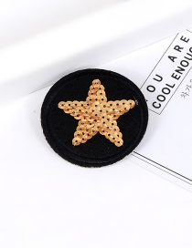 Trendy Black+yellow Sequins Decorated Stars Shape Simple Brooch
