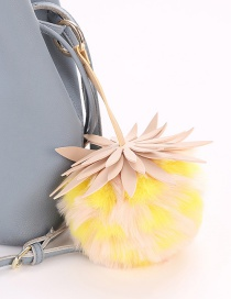Fashion Yellow Pineapple Shape Decorated Pure Color Pom Key Chain