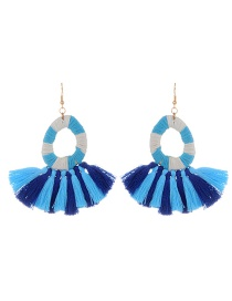 Fashion Blue Tassel Decorated Water Drop Shape Pure Color Earrings
