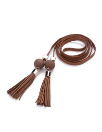 Trendy Coffee Tassel&bead Decorated Pure Color Simple Belt