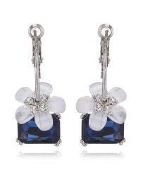 Fashion Sapphire Blue Diamond Decorated Flower Shape Color Matching Earrings