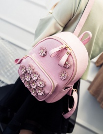 Fashion Pink Flower Decoreated Pure Color Backpack