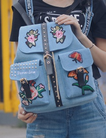 Fashion Blue Embroidery Flower Decoreated Pure Color Backpack