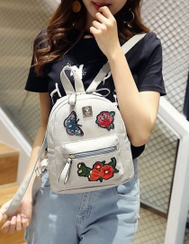Fashion Gray Embroidery Flower&butterfly Decorated Pure Color Backpack