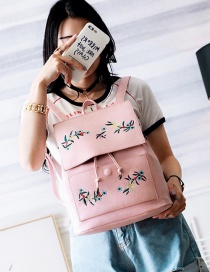 Fashion Pink Embroidery Flower Decoreated Pure Color Backpack