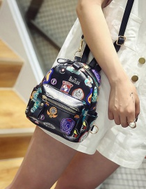 Fashion Black Printing Mark Pattern Decorated Pure Color Backpack