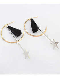 Fashion Black Tassel &star Decorated Simple Long Chain Earrings