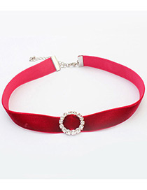 Vintage Red Round Shape Decorated Simple Short Chain Choker