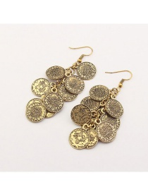 Fashion Gold Color Coins Pendant Decorated Pure Color Earrings