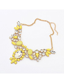 Fashion Yellow Water Drop Shape Diamond Decorated Color Matching Necklace