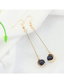Fashion Champagne+black Imitation Pearl Decorated Color Mathing Design Earrings