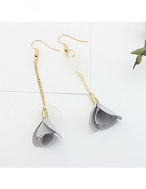 Elegant Gray Flower Pendant Decorated Tassel Design Color Matching Earrings