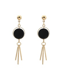 Trendy Black Tassel Pendant Decorated Color Matching Simple Earrings