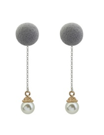 Fashion Gray Pearls&fuzzy Ball Decorated Color Matching Long Earrings