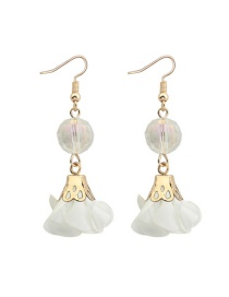 Fashion White Flower&beads Decorated Pure Color Simple Earrings